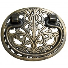 Bail w/ Pierced Filigree Oval Backplate Bail Pull - Antique Brass (HBA2010) by Gado Gado