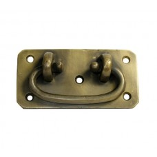Oval Bail w/ Rounded Corner Backplate Bail Pull - Antique Brass (HBA4010) by Gado Gado