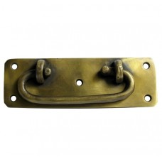 Oval Bail w/ Rounded Corner Backplate Bail Pull - Antique Brass (HBA4016) by Gado Gado