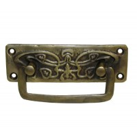 Rectangular Bail w/ Vine Detail Backplate Bail Pull - Custom Finishes (HBA4030) by Gado Gado