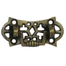Ornate Rectangular Bail w/ Ornate Pierced Backplate Bail Pull - Antique Brass (HBA7006) by Gado Gado