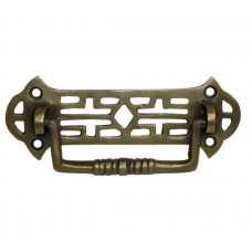 Ornate Rectangular Bail w/ Ornate Pierced Backplate Bail Pull - Antique Brass (HBA7008) by Gado Gado
