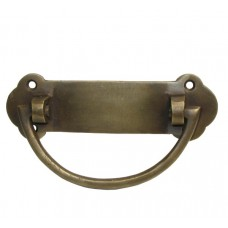 Half Oval Bail w/ Wide End Backplate Bail Pull - Antique Brass (HBA7014) by Gado Gado
