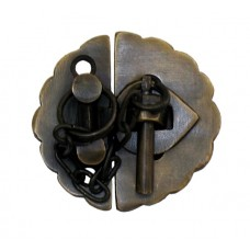 Plain Round Latch w/ Chain Latch - Antique Brass (HLA1012) by Gado Gado