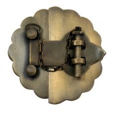 Latch w/ Round Flower Backplate Latch - Antique Brass (HLA6010) by Gado Gado