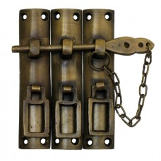Three Piece Lock w/ Chain Latch - Antique Brass (HLA7014) by Gado Gado