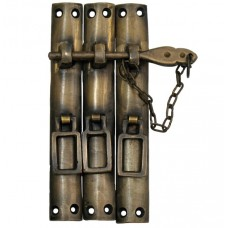 Three Piece Lock w/ Chain Latch - Antique Brass (HLA7016) by Gado Gado