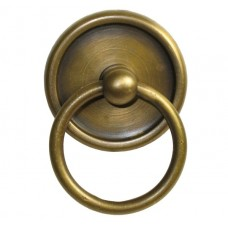Round Ring w/ Round Tiered Backplate Ring Pull - Antique Brass (HRP1022) by Gado Gado