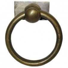 Round Ring w/ Small Rectangle Backplate Ring Pull - Antique Brass (HRP4008) by Gado Gado