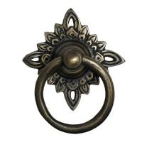 Round Ring w/ Filigree Star Backplate Ring Pull - Custom Finishes (HRP5010) by Gado Gado