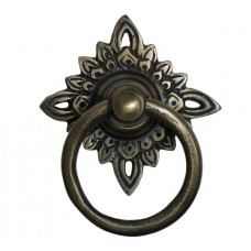 Round Ring w/ Filigree Star Backplate Ring Pull - Antique Brass (HRP5010) by Gado Gado