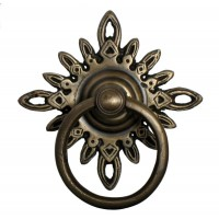 Round Ring w/ Filigree Star Backplate Ring Pull - Custom Finishes (HRP5012) by Gado Gado