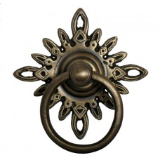 Round Ring w/ Filigree Star Backplate Ring Pull - Antique Brass (HRP5012) by Gado Gado