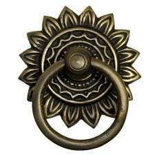 Round Ring w/ Sunburst Backplate Ring Pull - Antique Brass (HRP6026) by Gado Gado