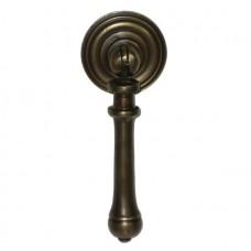 Carved Teardrop w/ Round Backplate Teardrop Pull - Antique Brass (HTP1012) by Gado Gado