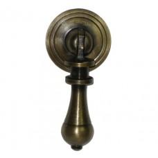 Carved Teardrop w/ Round Backplate Teardrop Pull - Antique Brass (HTP1014) by Gado Gado