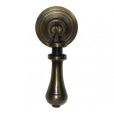 Carved Teardrop w/ Round Backplate Teardrop Pull - Antique Brass (HTP1016) by Gado Gado