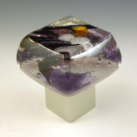 Amethyst Ice Chunky Cabinet Knob (AI) by Grace White Glass