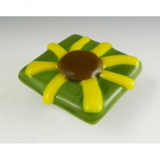 Brown-Eyed Susan Square Cabinet Knob (BES-G) by Grace White Glass
