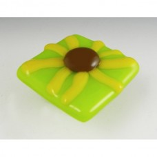 Brown-Eyed Susan Square Cabinet Knob (BES-L) by Grace White Glass