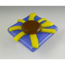 Brown-Eyed Susan Square Cabinet Knob (BES-P) by Grace White Glass