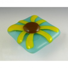 Brown-Eyed Susan Square Cabinet Knob (BES-S) by Grace White Glass