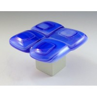 Blue Gingham Square Cabinet Knob (BG1) by Grace White Glass