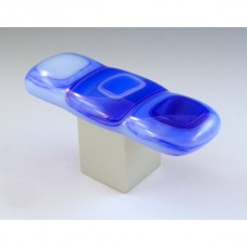 Blue Gingham Rectangular Cabinet Knob (BG2) by Grace White Glass