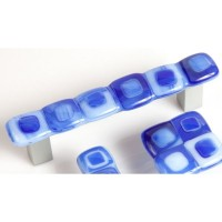 Blue Gingham Rectangular Drawer Pull (BG4) by Grace White Glass