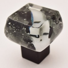 Black Ice Chunky Cabinet Knob (BIB) by Grace White Glass