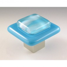 Clouds on Blue Square Cabinet Knob (CB1) by Grace White Glass