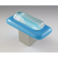 Clouds on Blue Rectangular Cabinet Knob (CB2) by Grace White Glass