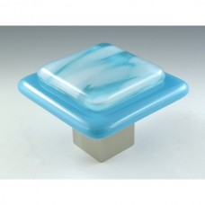 Clouds on Blue Square Cabinet Knob (CB3) by Grace White Glass