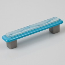 Clouds on Blue Rectangular Drawer Pull (CB4) by Grace White Glass
