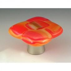 Citrus Squares Square Cabinet Knob (CS) by Grace White Glass