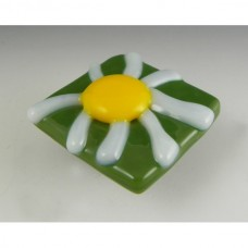 Daisy Square Cabinet Knob (DAI-G) by Grace White Glass