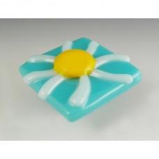 Daisy Square Cabinet Knob (DAI-S) by Grace White Glass