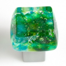 Dancing Water Chunky Cabinet Knob (DW-FS) by Grace White Glass