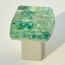 Dancing Water Chunky Cabinet Knob (DW-NS) by Grace White Glass