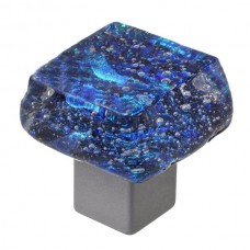 Dancing Water Dichroic Chunky Cabinet Knob (DWd-BB) by Grace White Glass