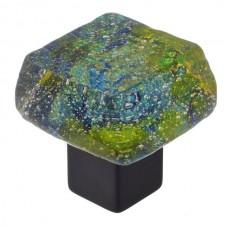 Dancing Water Dichroic Chunky Cabinet Knob (DWd-EV) by Grace White Glass