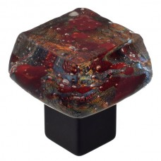 Dancing Water Dichroic Chunky Cabinet Knob (DWd-RR) by Grace White Glass