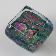 Dancing Water Dichroic Chunky Cabinet Knob (DWd-SB) by Grace White Glass