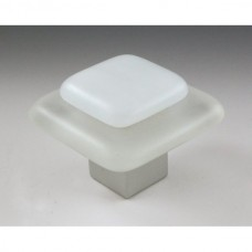 Frost on Ice Square Cabinet Knob (FI1) by Grace White Glass