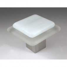 Frost on Ice Square Cabinet Knob (FI3) by Grace White Glass