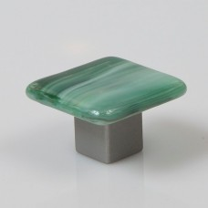 Irish Mist Square Cabinet Knob (IM1) by Grace White Glass