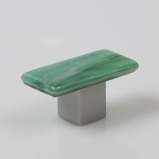 Irish Mist Rectangular Cabinet Knob (IM2) by Grace White Glass