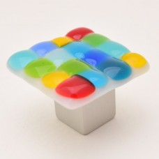 Mackinaw Square Cabinet Knob (MK1) by Grace White Glass