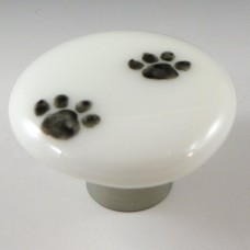 Paw Prints Round Cabinet Knob (PWS) by Grace White Glass