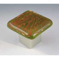 AutumnFrost Square Cabinet Knob (RAF1) by Grace White Glass